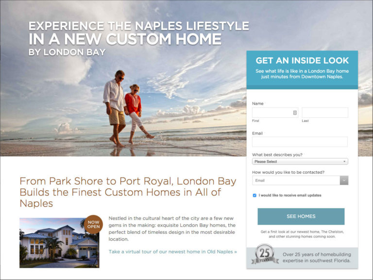 Home builder landing page