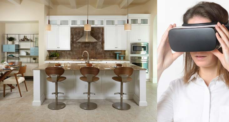 Virtual reality tour of a kitchen in a new home