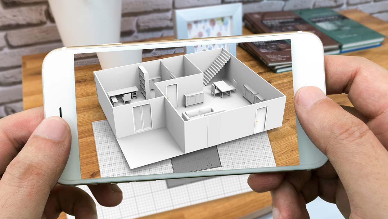 smartphone augmented reality viewing a home builders plan